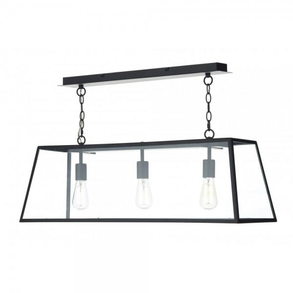 Dar ACA0322 Academy 3 Light Pendant Black