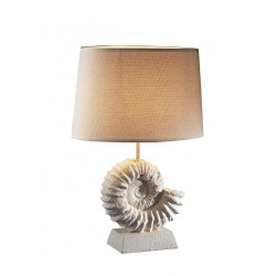 David Hunt AMM4334 Ammonite Table Lamp Stone Effect complete with hessian Shade