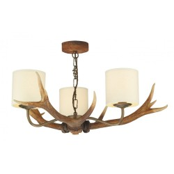 David Hunt ANT0329 Antler 3 Light Pendant With Cream Shades