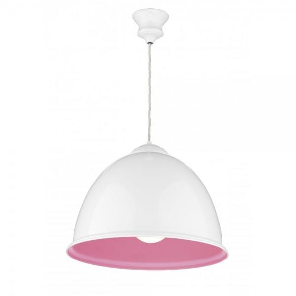 David Hunt EUS0103 Euston 1 Light Gloss White Pendant Hot Pink Inner