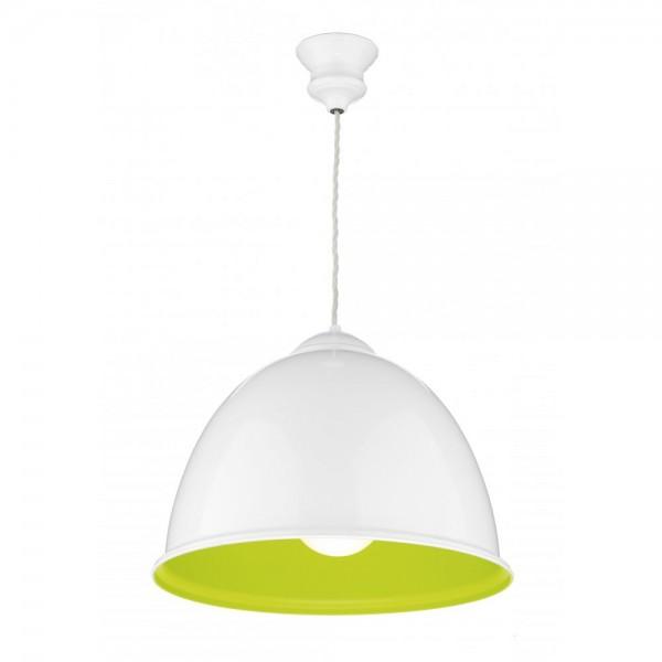 David Hunt EUS0124 Euston 1 Light Gloss White Pendant Lime Green Inner