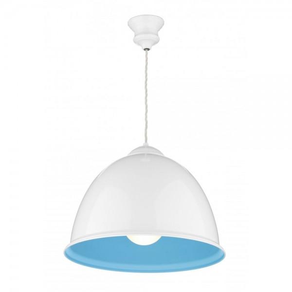 David Hunt EUS0127 Euston 1 Light Gloss White Pendant Aqua Inner