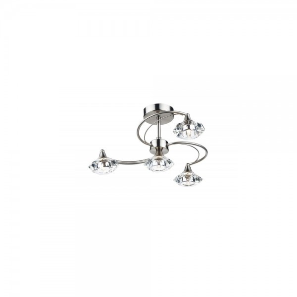 Dar LUT0446 Luther Satin Chrome 4 Light Semi Flush complete with Crystal Glass