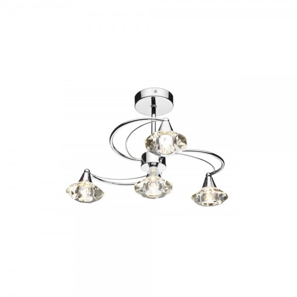 Dar LUT0450 Luther 4 Light Polished Chrome Semi Flush complete with Crystal Glass