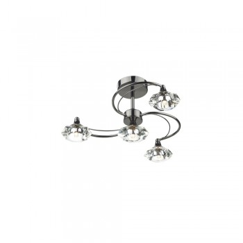 Dar LUT0467 Luther 4 Light Black Chrome Semi Flush complete with Crystal Glass