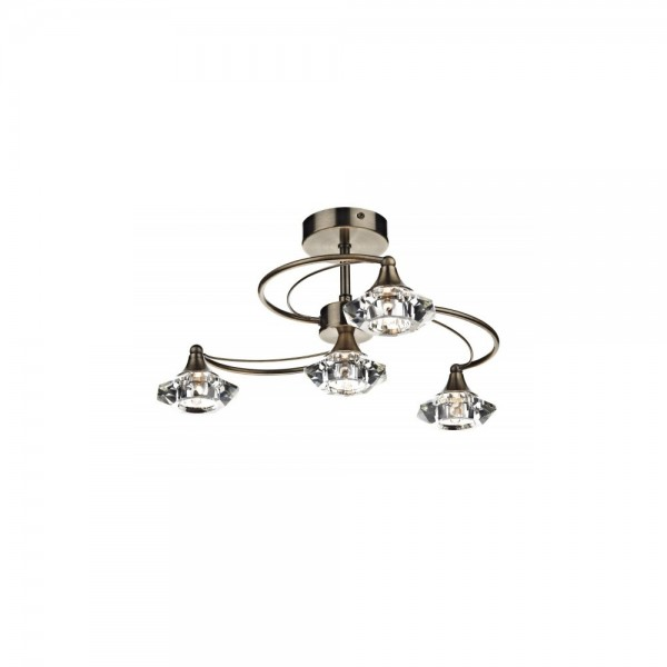 Dar LUT0475 Luther 4 Light Antique Brass Semi Flush complete with Crystal Glass