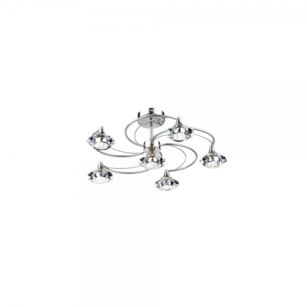 Dar LUT0646 Luther 6 Light Satin Chrome Semi Flush complete with Crystal Glass