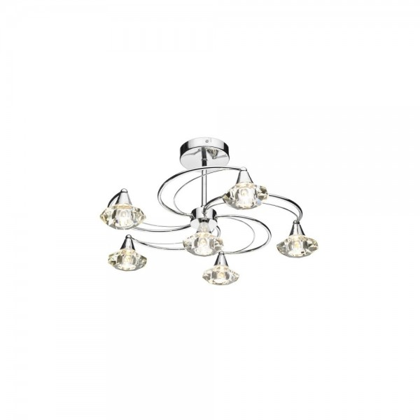 Dar LUT0650 Luther 6 Light Polished Chrome Semi Flush complete with Crystal Glass