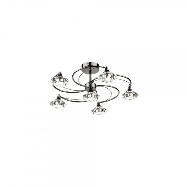 Dar LUT0667 Luther 6 Light Black Chrome Semi Flush complete with Crystal Glass