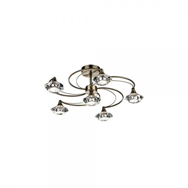 Dar LUT0675 Luther 6 Light Antique Brass Semi Flush complete with Crystal Glass
