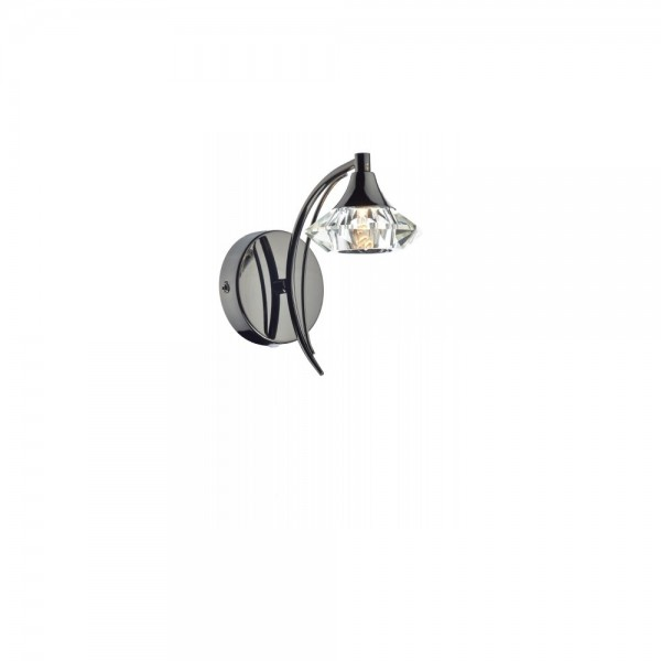 Dar LUT0767 Luther Single Black Chrome Wall Bracket complete with Crystal Glass