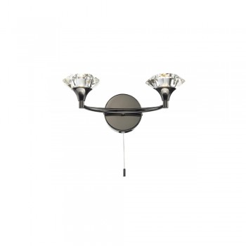 Dar LUT0967 Luther Double Black Chrome Wall Bracket complete with Crystal Glass