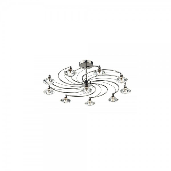 Dar LUT2367 Luther 10 Light Black Chrome Semi Flush complete with Crystal Glass