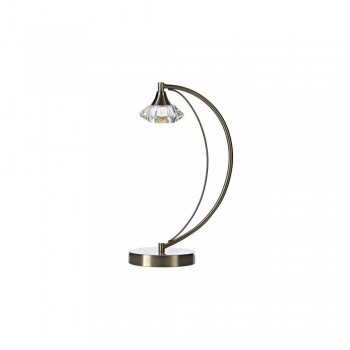 Dar LUT4146 Luther 1 Light Satin Chrome Table Lamp complete with Crystal Glass