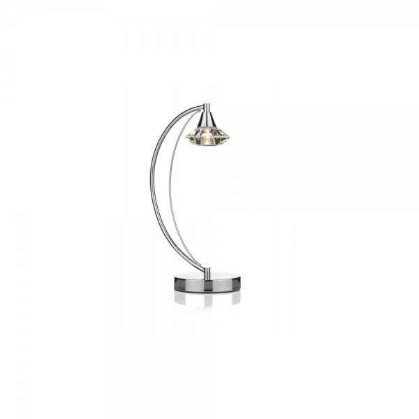 Dar LUT4150 Luther 1 Light Polished Chrome Table Lamp complete with Crystal Glass
