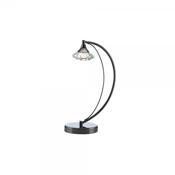 Dar LUT4167 Luther 1 Light Black Chrome Table Lamp complete with Crystal Glass