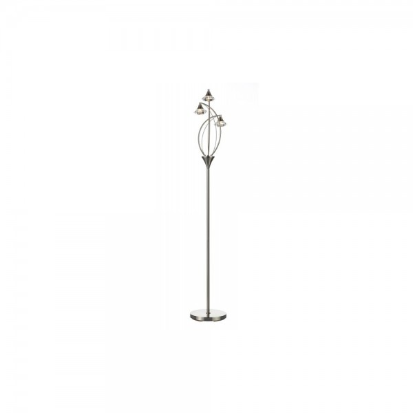 Dar LUT4946 Luther 3 Light Satin Chrome Floor Lamp complete with Crystal Glass