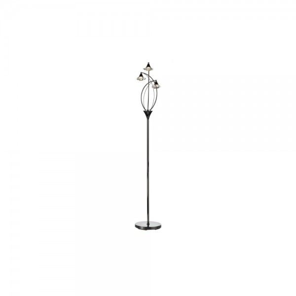 Dar LUT4967 Luther 3 Light Black Chrome Floor Lamp complete with Crystal Glass