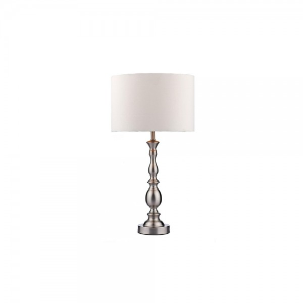 Dar MAD4246 Madrid Ball Satin Chrome Table Lamp complete with Shade