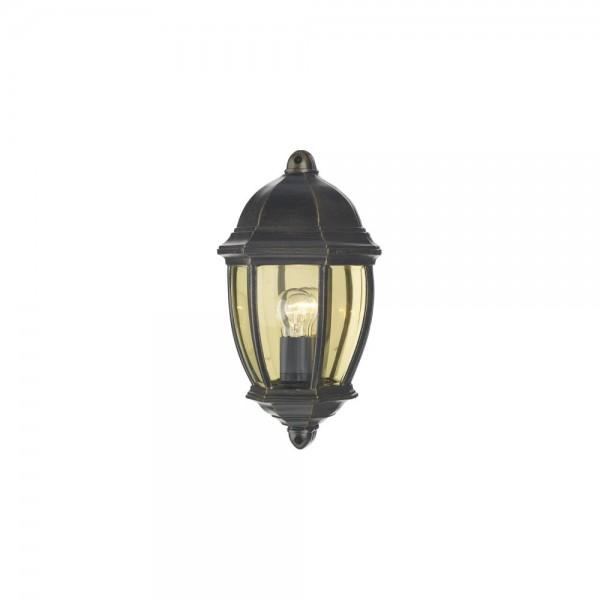 Dar NEW2135 Newport Black Gold Outdoor Flush Wall Light