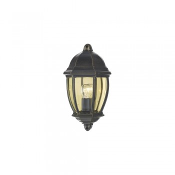 Dar NEW2135 Newport Black Gold Outdoor Flush Wall Light
