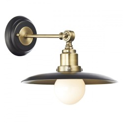 Dar HAN0754 Hannover 1 Light Black and Antique Brass Wall Light