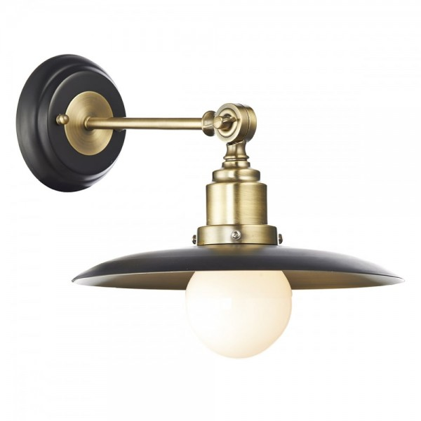 Dar HAN0754 Hannover 1 Light Black and Antique Brass Wall Light