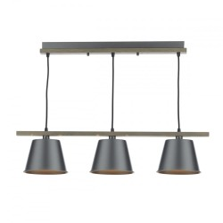 Dar ARK0348 Arken 3 Light Pendant Raw/Wood