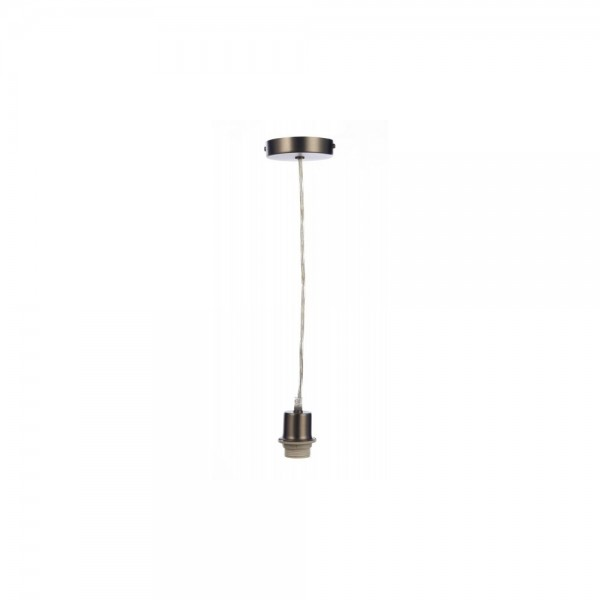 Dar SP61 1 Light Antique Chrome E27 Suspension With Clear Cable