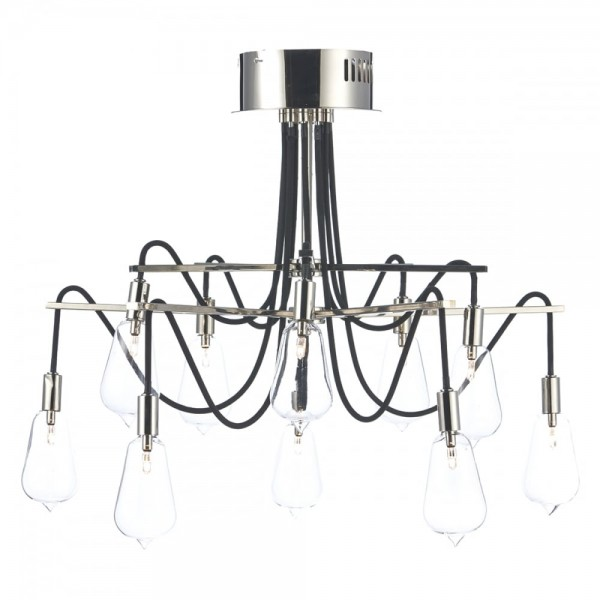 Dar Lighting SCR2338 Scroll 10 Light Semi Flush Polished Nickel