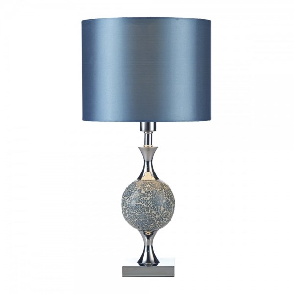 Dar Lighting ELS4223 Elsa Table Lamp Blue Mosaic complete with Shade