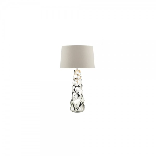 Dar Lighting GIU4232/X Giuseppe Table Lamp Silver complete with Shade