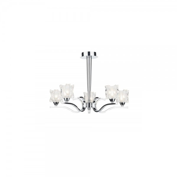 Dar Zol0550 Zola 5 Light Semi Flush Polished Chrome