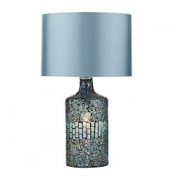 Dar Lighting GUR4223 Guru Table Lamp Blue Mosaic Dual Source complete with Shade