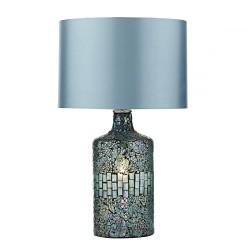 Dar Lighting GUR4223 Guru Table Lamp Blue Mosaic Dual Source complete with Shade