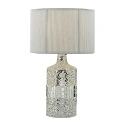 Dar Lighting GUR4239 Guru Table Lamp Silver Mosaic Dual Source complete with Silver String Shade