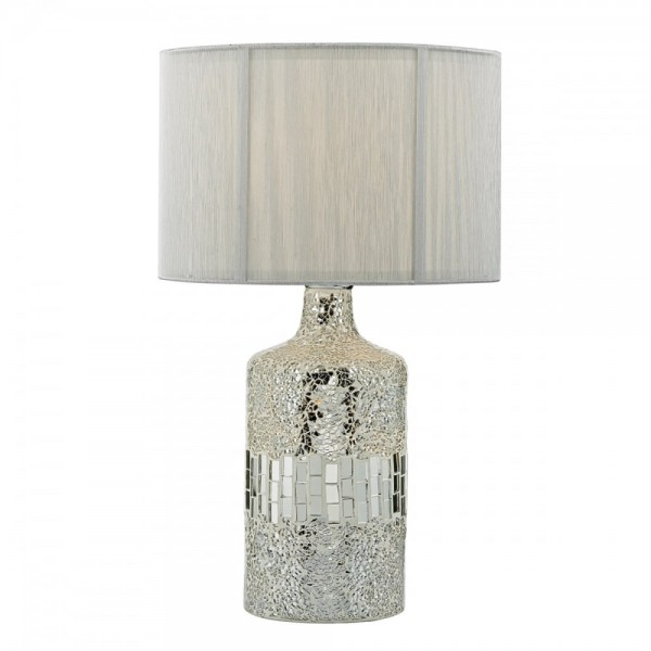 Dar Lighting GUR4239 Guru Table Lamp Silver Mosaic Dual Source complete with Silver String Shade