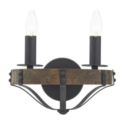 Dar Lighting MIN0947 Minstrel Double Wall Bracket Dark Wood