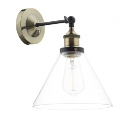 Dar Lighting RAY0775 Ray 1 Light Wall Bracket Antique Brass Clear