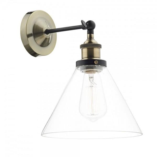 Dar Lighting RAY0775 Ray 1 Light Wall Bracket Antique Brass Clear
