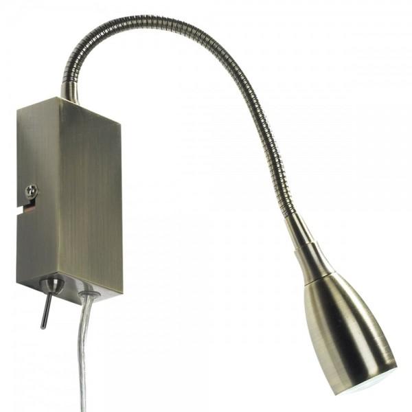 Dar Lighting UNO0775 Uno Led Flexi Reading Lt Antique Brass Plug In