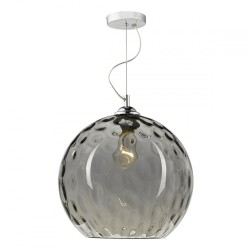 Dar Lighting AUL0110 Aulax 1 Light Pendant Silver Smoked Glass With Dimple Effect