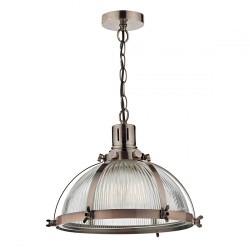 Dar Lighting DEB0164 Debut 1 Light Pendant Brushed Antique Copper