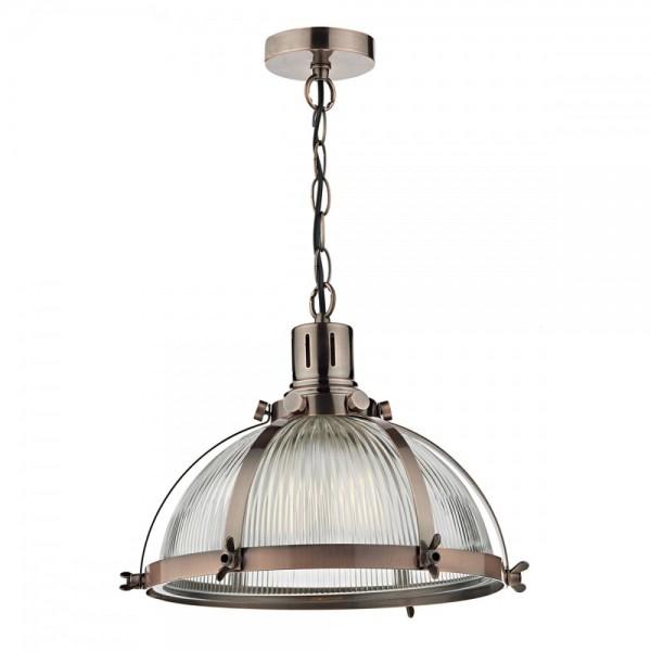 Dar Lighting DEB0164 Debut 1 Light Pendant Brushed Antique Copper
