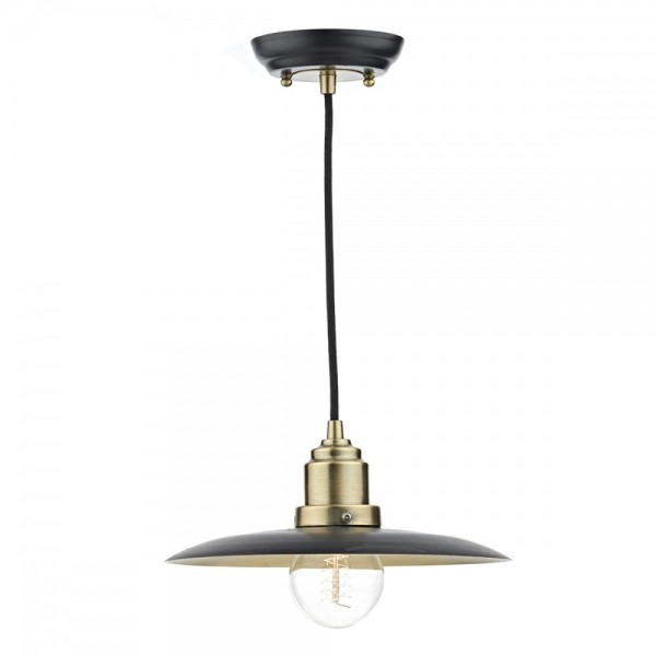 Dar Lighting HAN0154 Hannover 1 Light Pendant Black/Antique Brass