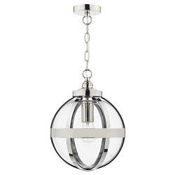 Dar Lighting HEA0138 Heath 1 Light Pendant Polished Nickel