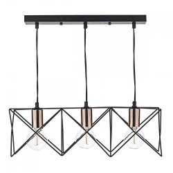 Dar Lighting MID0322 Midi 3 Light Bar Pendant Black