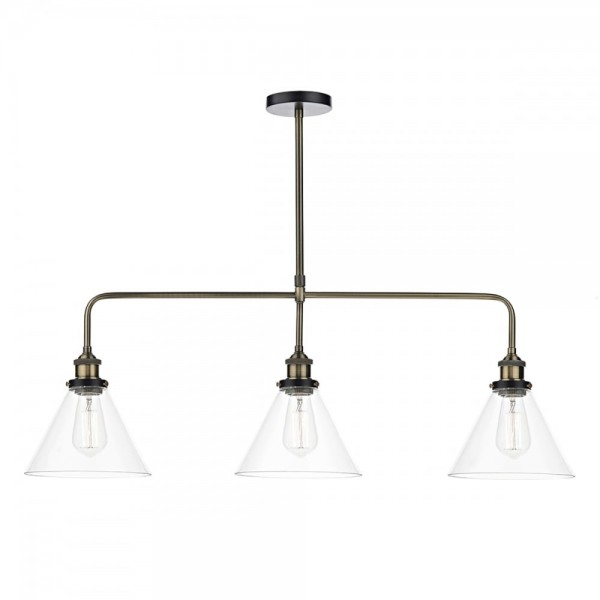 Dar Lighting RAY0375 Ray 3 Light Bar Pendant Antique Brass Clear
