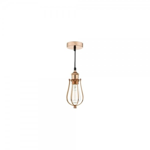 Dar Lighting TAU0164 Taurus 1 Light Pendant Cage Bright Copper