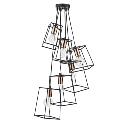 Dar Lighting TOW0622 Tower 6 Light Cluster Pendant Black